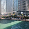 Fall light on Marina Plaza of Riverwalk Chicago River