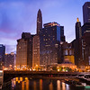 Chicago River sunrise State Street bridge dusk tourism skyline