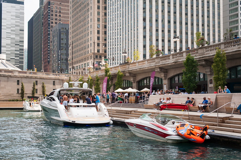 Chicago Riverwalk summer 2015 Marina with boats