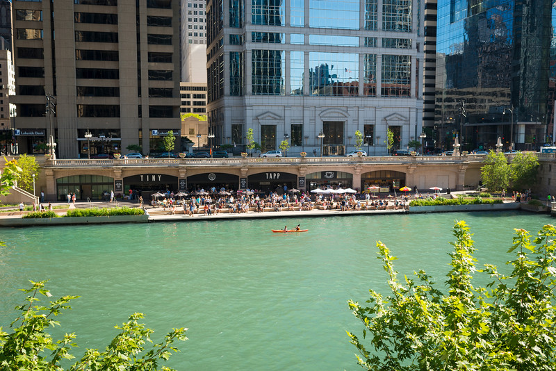 Chicago River Riverwalk Cove recreational boat kayak Tiny Tapp riverfront tourism tourists visitors
