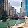 Chicago River riverwalk summer