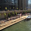 Riverwalk Marina with a boat City Winery summer afternoon