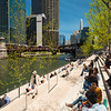 Riverwalk river theater section at lunch time office workers spring