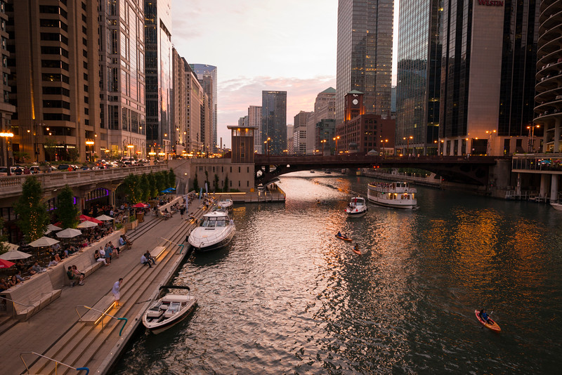 Chicago Riverwalk marina boats kayaks river summer sunset dusk City Winery