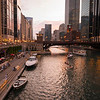 Chicago Riverwalk marina boats kayaks river summer sunset dusk City Winery