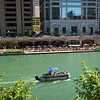 Chicago River Riverwalk Cove recreational boat Tiny Tapp riverfront tourism tourists visitors