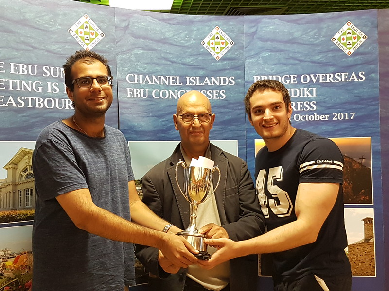 2017 Swiss Pairs winners - Shahzaad Natt & Stefano Tommasini (with Rob Lawy, centre)