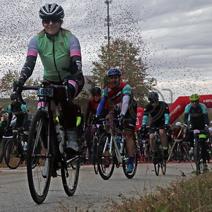 Noel Peterson rides at the Gran Fondo Hincapie Greenville in Travelers Rest, S.C., on October 19, 2019