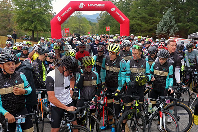 Victor Hugo Pena, Lance Armstrong, Enzo Hincapie, George Hincapie, Christian Vande Velde and Jean-Francois Sberro prepare to ride at the Gran Fondo Hincapie Greenville in Travelers Rest, S.C., on October 19, 2019