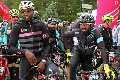 Justin Williams and Cory Lewis prepare to ride at the Gran Fondo Hincapie Greenville in Travelers Rest, S.C., on October 19, 2019