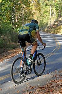 Daniel Jeske (498) rides on Skyuka Mountain Rd. in the Gran Fondo Hincapie Greenville -- Saturday, October 24, 2020