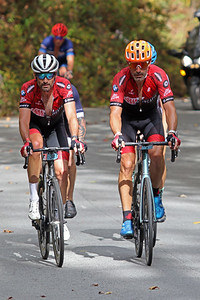 Bobby Julich (38) and George Hincapie (1) ride  in the Gran Fondo Hincapie Greenville -- Saturday, October 24, 2020