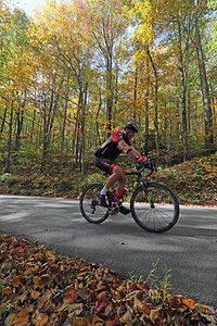 Erik Horstmann (127) rides on Green River Cove Rd. in the Gran Fondo Hincapie Greenville -- Saturday, October 24, 2020