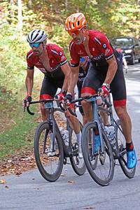 Bobby Julich (38) and George Hincapie (1) ride  in the Gran Fondo Hincapie Greenville -- Saturday, October 24, 2020