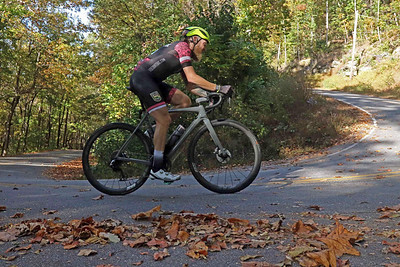 Bryce Anderson (227) rides on Skyuka Mountain Rd. in the Gran Fondo Hincapie Greenville -- Saturday, October 24, 2020