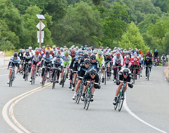 Stage 3 - Auburn to Merced. The peloton heads down the Auburn-Folsom road