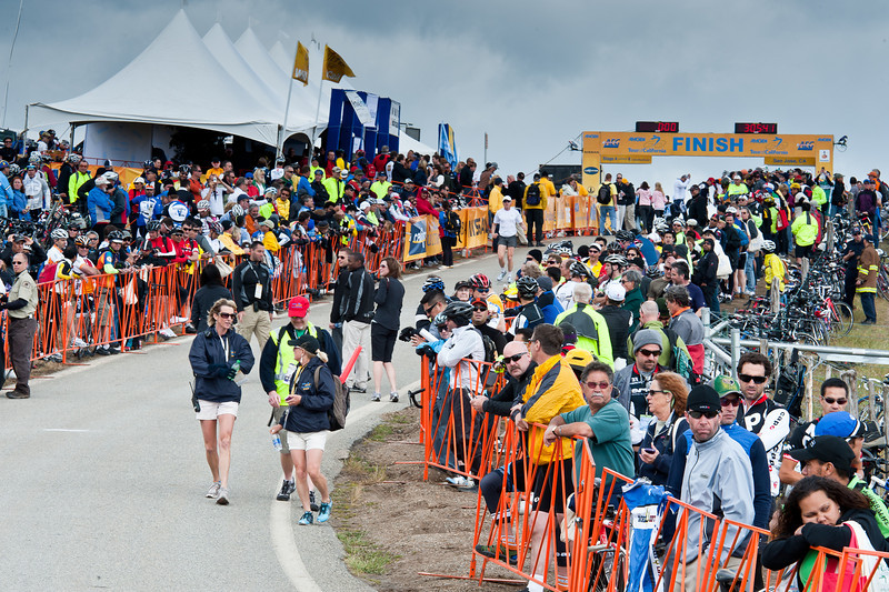 The party was on at the top of Sierra Road, Stage 4. Thousands rode or walked up the 3 mile climb.