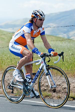 Oscar Freire, three time world champion, rides up Sierra Road
