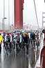 Lance and Rock Racing boys at the head of the peloton, crossing the Golden Gate Bridge, stage 2 of the 2009 Tour of California