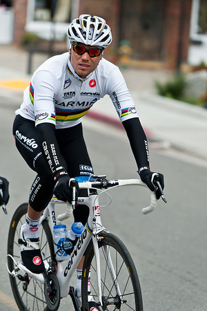 Thor Hushovd in the rainbow jersey, still looking for his first win in 2011 will spend a week in the yellow jersey at the Tour de France this year