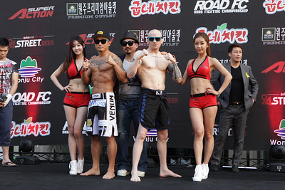 Seo Doo-Won and Joachim Hansen at the weigh-in