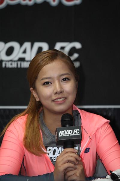 송가연 (Song Ga-Yeoun), one of Road FC's female fighters at a press conference in Seoul 07/07/2014 for Road FC.