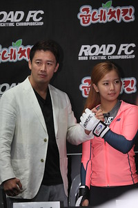 송가연 (Song Ga-Yeoun), one of Road FC's female fighters at a press conference in Seoul 07/07/2014 for Road FC.