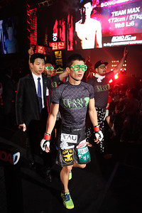 Song Min-Jong walking to the cage for the flyweight title fight