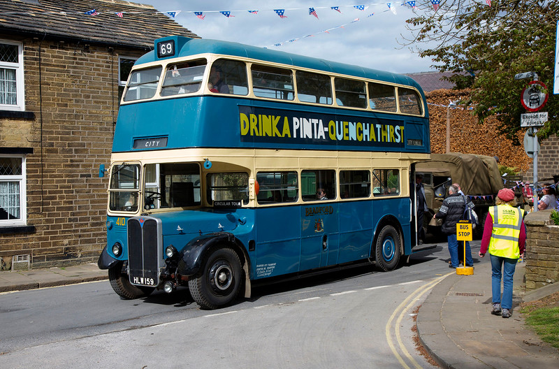 Preserved ex Bradford 410 (HLW 159), formerly London Transport RT172 at the top of Main Street in Haworth during the 2016 1940's weekend
