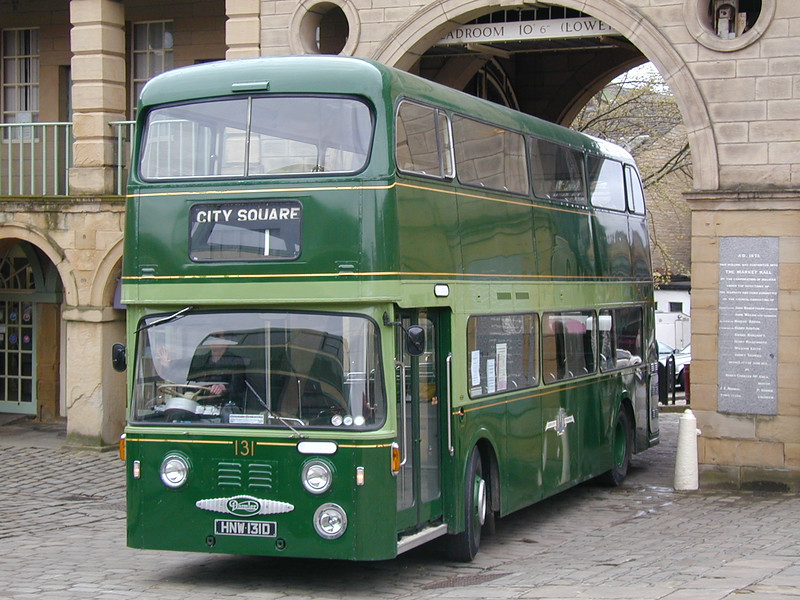 HNW131D Leeds Corporation Daimler Fleetline No 131 enters the Piece Hall at HOTP 2001 n 6th May 2001