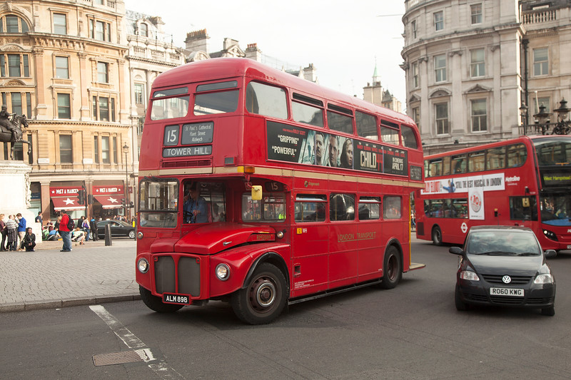 RM2089 AEC Routemaster ALM89B in Trafalgar Square on service 15 to Tower Hill on April 10th 2015.<br /> <br /> The eagle eyed amongst you will have noticed that Stagecoach have entrusted this fine heritage vehicle under the watch of a female driver........