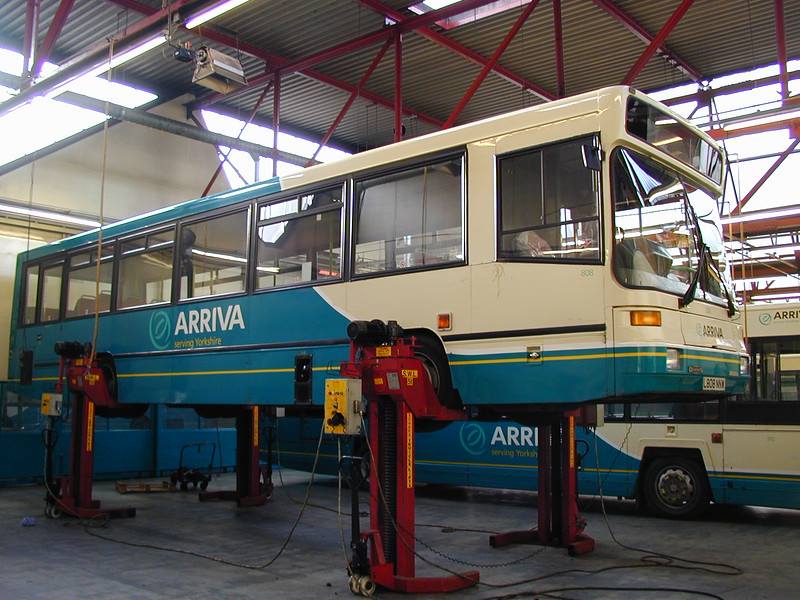 L 808 MWW on the jacks at Belle Isle depot Wakefield on 20th February 2000