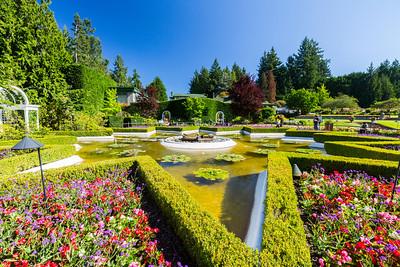 Star Pond. Italian Garden. Butchart Gardens - Brentwood Bay, BC, Canada
