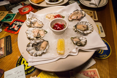 Petite Oysters On The 1/2 Shell. Michael's Seafood & Steakhouse. Port Angeles, WA, USA