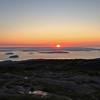 Cadillac Mountain sunrise over bar islands & distant Bar Harbor