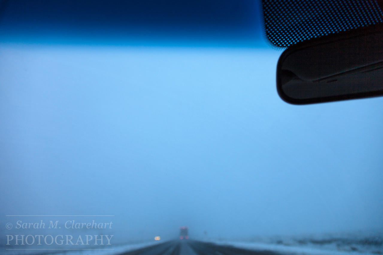 Leaving Rock Springs, Wyoming at 5:30 am. In a pretty heavy snow storm.
