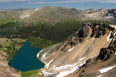 """Looking down on Ladyslipper Lake from the Rim Trail in Cathedral Provincial Park. The summit just behind the lake is Lakeview mountain. This is the mountain that I hiked just a day earlier as part of my """"birthday hike""""."""