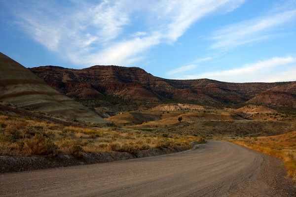 This is the gravel road that takes you to the Painted Hills. We've traveled it many times and this is about as busy as it gets.