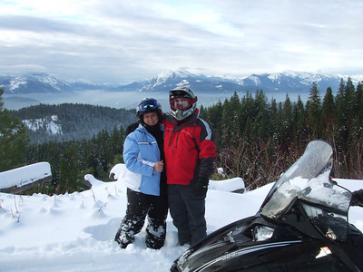 Snowmobiling up at Entitat Ridge.