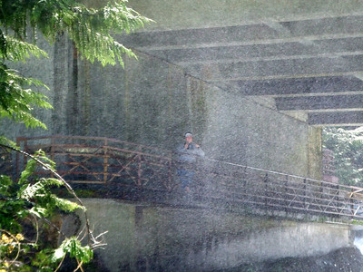 This picture appears foggy because of all the spray comming up from the falls.