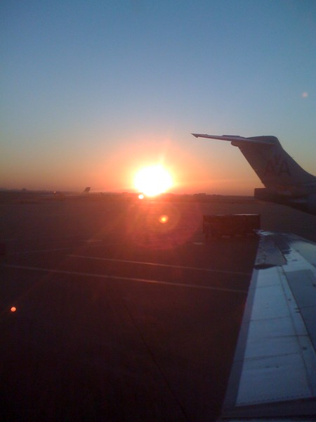 Sunrise at DFW waiting to take off.