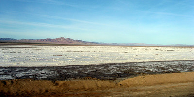 Dry lake bed with salt deposits