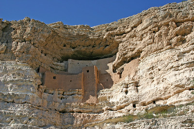 "Montezuma Castle National Monument - This five-level, 20 room cliff dwelling nestled into a limestone recess high above Beaver Creek served as a ""high-rise apartment building"" for prehistoric Sinagua Indians over 600 years ago. It is one of the best preserved cliff dwellings in North America."