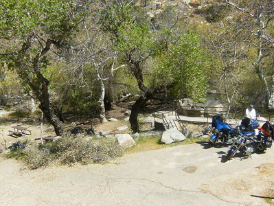Our camp site down below the bikes.
