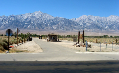 "This was the entrance to the Manzanar Relocation Camp. Manzanar was the site of one of ten camps where over 110,000 Japanese Americans were imprisoned during World War II. Located at the foot of the Sierra Nevada in California's Owens Valley between the towns of Lone Pine to the south and Independence to the north, it is approximately 230 miles northeast of Los Angeles. Manzanar (which means ""apple orchard"" in Spanish) was identified by the United States National Park Service as the best-preserved of the former camp sites, and was designated the Manzanar National Historic Site."