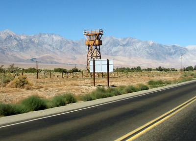 A reconstructed guard tower at Manzanar