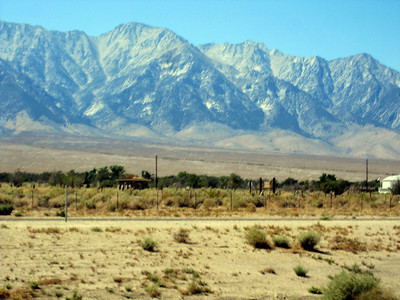This is where the Manzanar Relocation Center was where we interned Japanese American citizens during  WWII