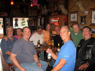 Terry, Cathy, Tim, Bill, Cat, Slow Dave, Jim, Rick, Fast Dave, having fun in Rusty's Bar.