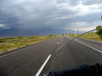 Back on the road again. Next stop, Bishop, CA. Notice the rain ahead. We ran into light rain on the way to Bishop.