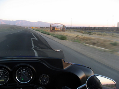 Entering the town of Mojave at sunrise